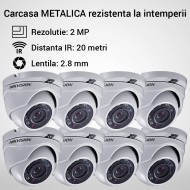 Kit Hikvision CCTV 8 camere dome TurboHD 2.0MP MK063-KIT13