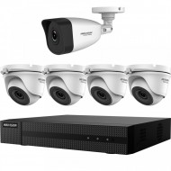 Kit HikVision HiWatch 4 camere analogice turret 4MP + camera IP bullet 2 MP IR 30-40m MK-H025