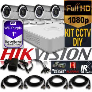 Kit Hikvision CCTV 4 Camere Bullet TurboHD 1080p DS-16D0T04HQHI-F1/N/IRP