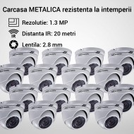 Kit Hikvision CCTV 16 camere dome TurboHD 1.3MP MK057-KIT07