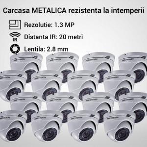 Kit Hikvision CCTV 16 camere dome TurboHD 1.3MP MK057-KIT07
