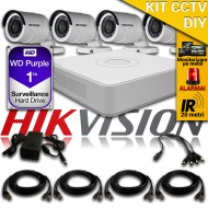 Kit Hikvision CCTV 4 Camere Bullet TurboHD 720p DS-16C0T04HGHI-F1/IRP