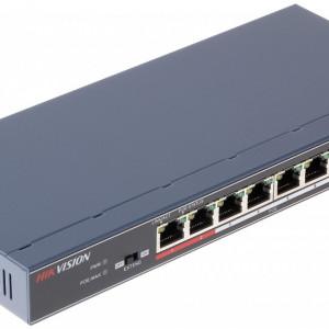 Switch 8 porturi PoE Hikvision carcasa plastic DS-3E0109P-E