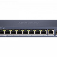 Switch HikVision 6 porturi PoE Gigabit si 2 porturi HiPoE Gigabit si un port Gigabit fibra optica DS-3E0510HP-E