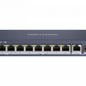 Switch HikVision 6 porturi PoE Gigabit si 2 porturi HiPoE Gigabit si un port Gigabit fibra optica DS-3E0510HP-E