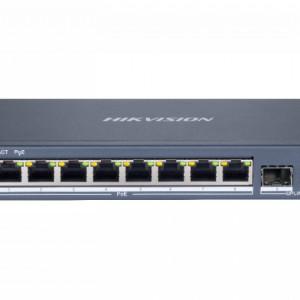 Switch HikVision 8 porturi PoE Gigabit cu web interface si doua porturi pentru fibra optica Gigabit DS-3E1510P-E