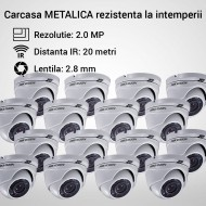 Kit Hikvision CCTV 16 camere dome TurboHD 2.0MP MK066-KIT16
