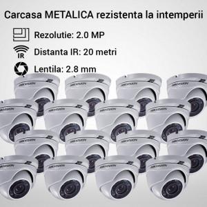 Kit Hikvision CCTV 16 camere dome TurboHD 2.0MP MK066-KIT16