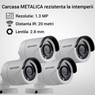 Kit Hikvision CCTV 4 camere bullet TurboHD 1.3MP MK053-KIT03