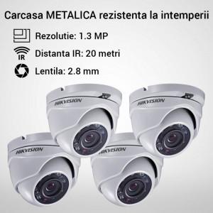 Kit Hikvision CCTV 4 camere dome TurboHD 1.3MP MK051-KIT01