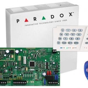 Kit Centrala Magellan Paradox 5 intrari pe placa cutie tastatura si telecomanda MG5050(CT)+K636+REM1