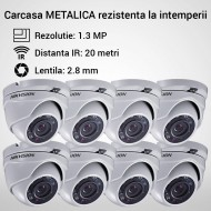 Kit Hikvision CCTV 8 camere dome TurboHD 1.3MP MK054-KIT04
