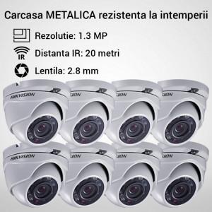 Kit Hikvision CCTV 8 camere dome TurboHD 1.3MP MK054-KIT04
