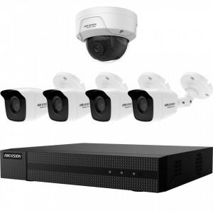 Kit HikVision HiWatch 4 camere analogice 4MP + camera IP 2 MP IR 30-40m MK-H024