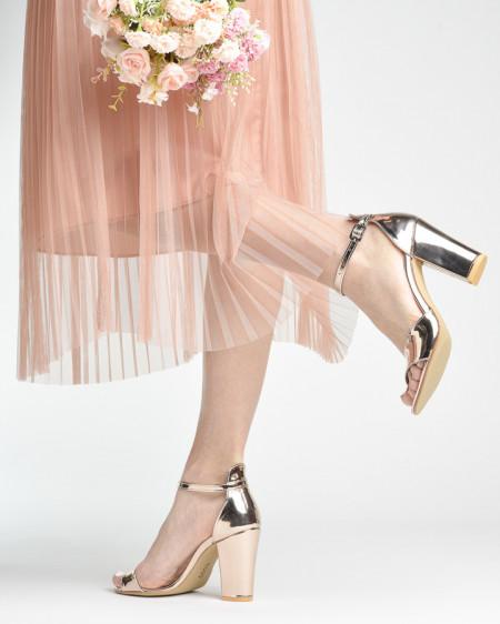 Slika Sandale na deblju petu 27 roze zlato