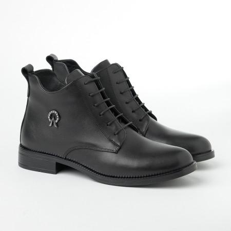 Slika Ženske kožne poluduboke cipele 91115 crne