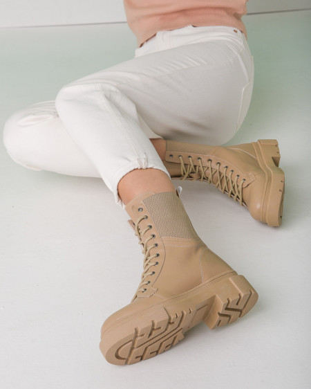 Ženske poluduboke čizme L5169 bež