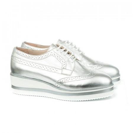 Slika Kožne cipele na debelom đonu 2670 srebrne