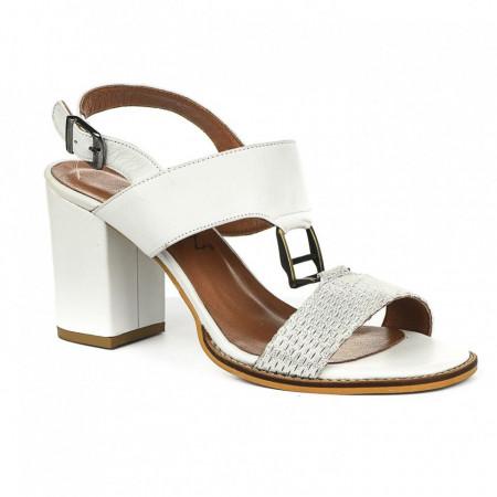 Slika Kožne sandale na štiklu 2027 bele