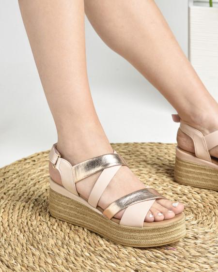 Slika Kožne ženske sandale ALD1093 puder roze/zlatne