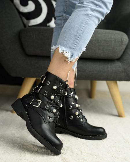 Slika Ženske čizme sa biserima LH96606 crne