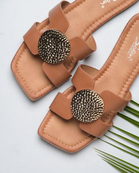 Slika Ženske ravne papuče LP212102 kamel