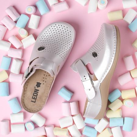 Slika Kožne papuče/klompe 900 sedef