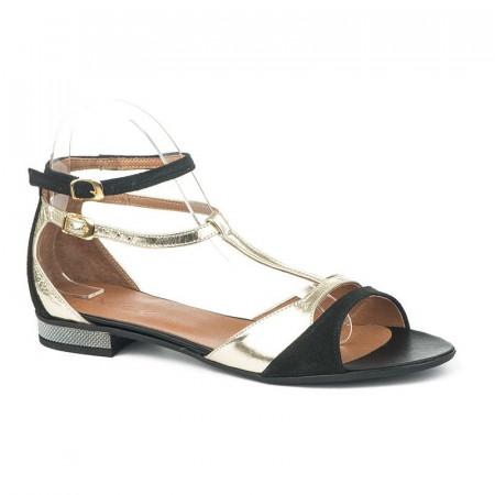 Slika Kožne ravne sandale 11-842 crno / zlatne