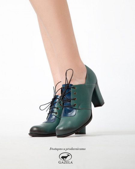 Slika Kožne ženske cipele 14-121 zeleno/teget