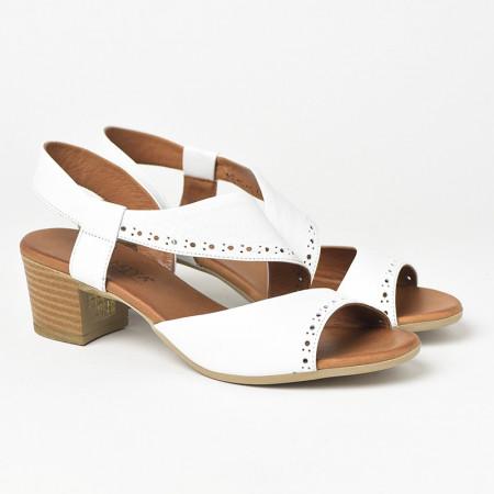 Slika Kožne sandale na štiklu 816 bele