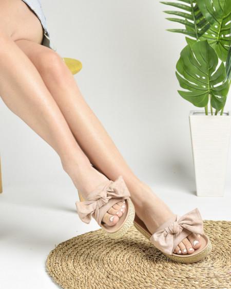 Slika Ženske papuče na debelom đonu LP022019 puder roze
