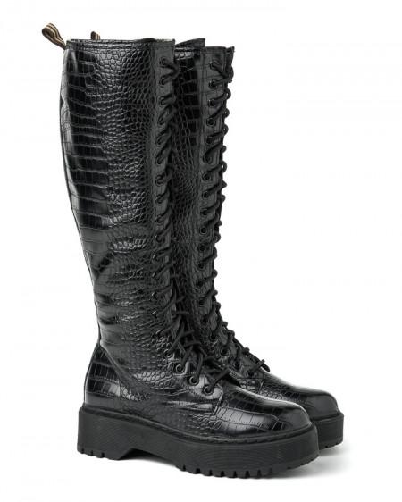 Slika Duboke ženske čizme XT2551 crne kroko