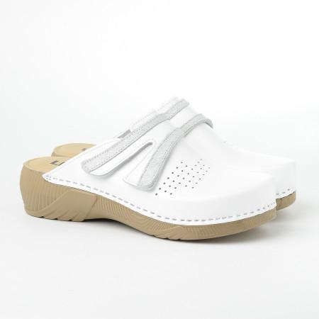 Slika Kožne papuče/klompe 3200 bele