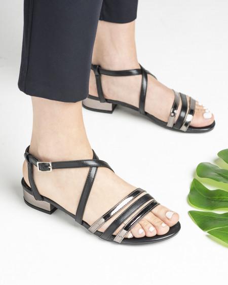 Slika Sandale na malu petu 3723-4 crno/srebrne