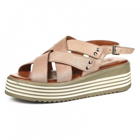 Slika Kožne ženske sandale CB9690/0121 puder roze