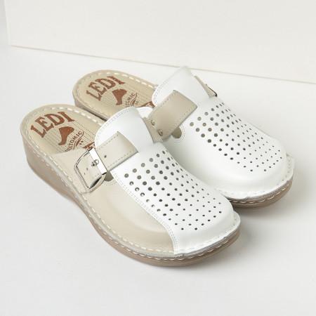 Slika Kožne papuče 671 bež-bela
