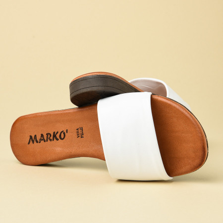 Slika Kožne ravne papuče 225115 bele