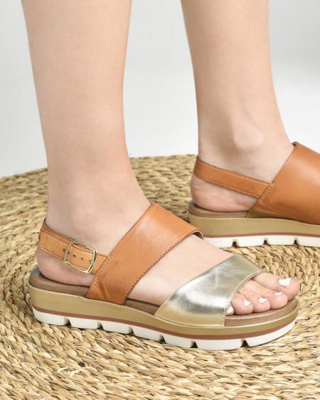 Slika Kožne ravne sandale 234070 kamel/zlatne