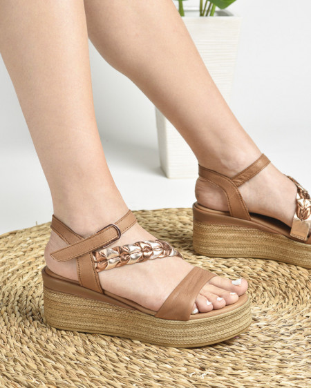 Slika Kožne ženske sandale ALD1077 kamel