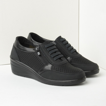 Slika Ženske cipele/patike na ortoped petu L082101 crne