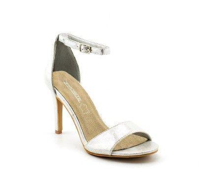 Slika Elegantne sandale na štiklu LS91570 belo srebrne