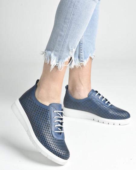 Slika Kožne ženske cipele/patike AL44 teget
