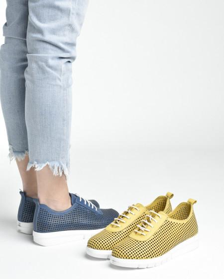 Slika Kožne ženske cipele/patike AL44 žute