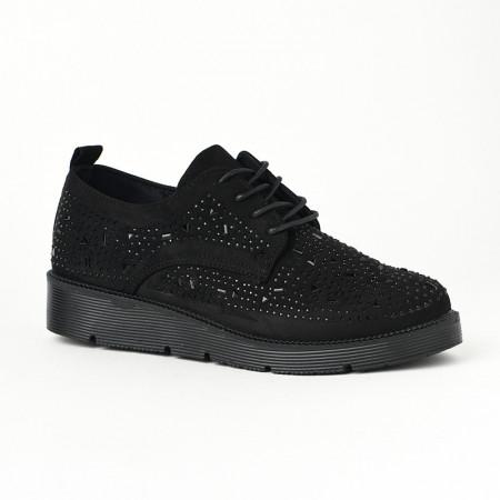 Slika Ženske cipele na pertlanje L90854-1 crne