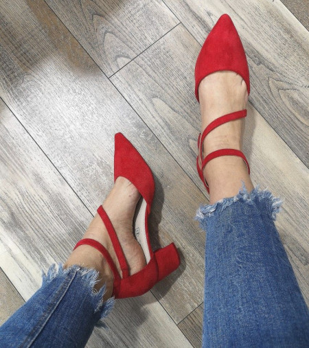 Slika Cipele na malu štiklu LS241921 crvene