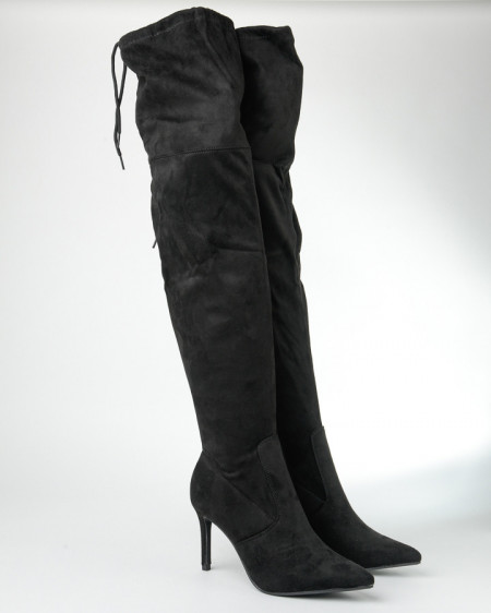 Slika Čizme preko kolena na štiklu CA403-1 crne