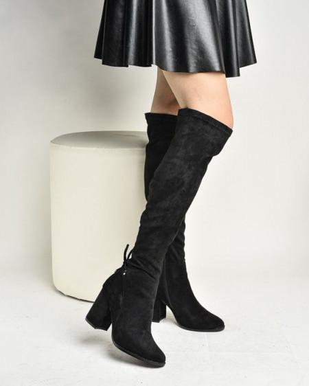Slika Čizme preko kolena na štiklu LX771927 crne