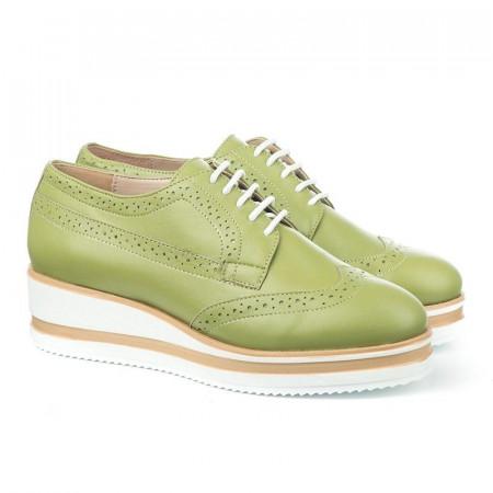 Slika Kožne cipele na debelom đonu 2670 zelene