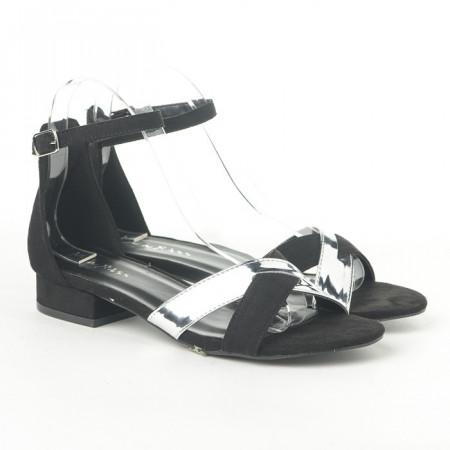 Slika Sandale na malu petu 3723-6 crno/srebrne