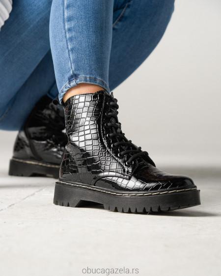 Ženske poluduboke čizme CA528-6 crne kroko lakovane